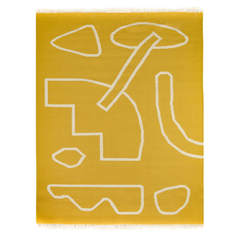 Ковер ручной работы из шерсти и хлопка Poetry and steps горчичного цвета, 160х230 см