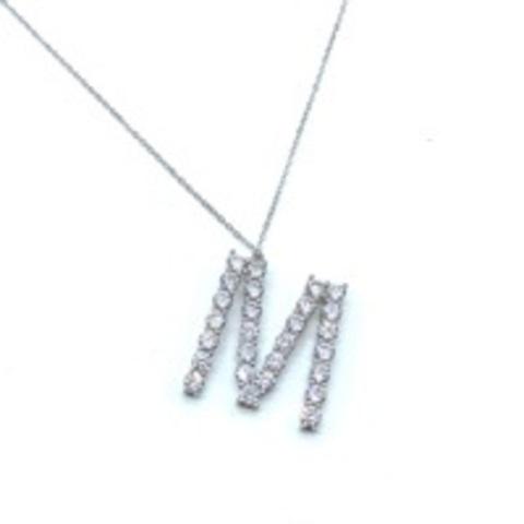 Подвеска буква M из серебра с цирконами бриллиантовой огранки