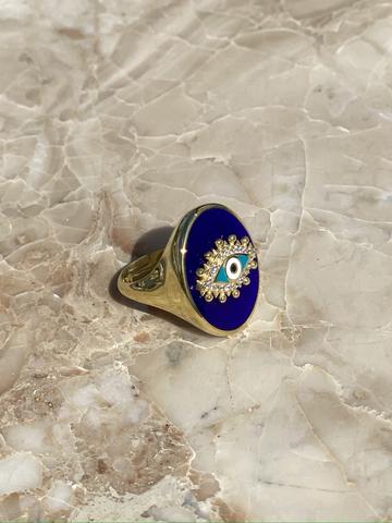 Кольцо-печатка Око из позолоченного серебра с синей эмалью