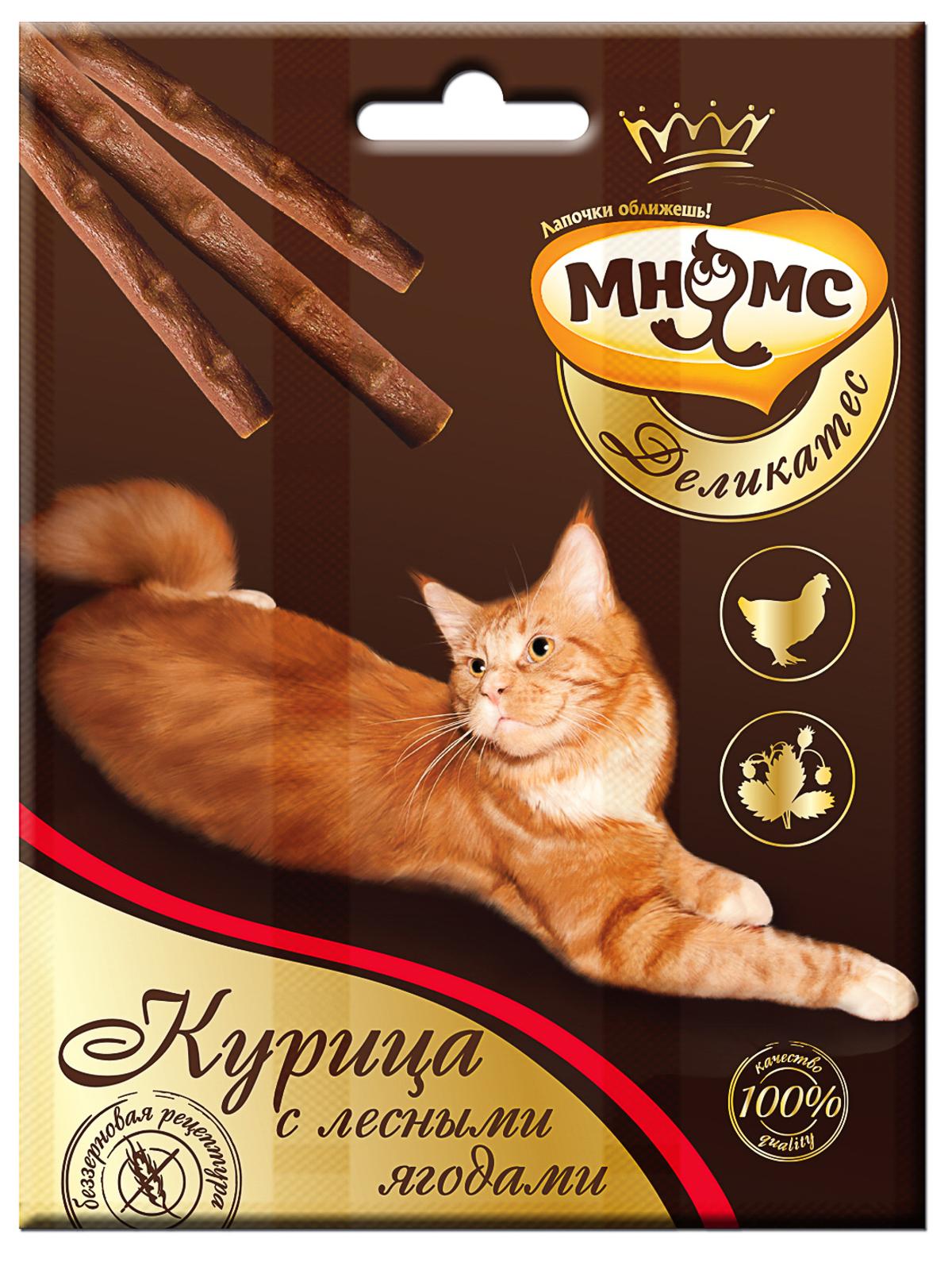 Мнямс Лакомые палочки 9 см для кошек Мнямс Деликатес с курицей и лесными ягодами 703300_1.jpg