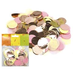Конфетти Круги бумага/фольга золото/розовый/шампань, 2,5 см, 14 гр, 1 уп.