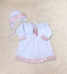 Крестильная рубашка с чепчиком Ангел (розовая)