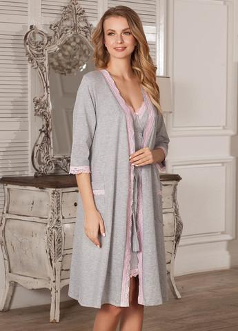 Халат Marta для беременных и кормящих; цвет: серый меланж 5803
