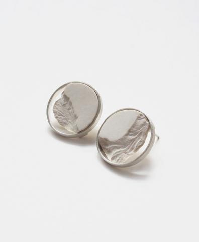 Серьги Circle White Silver