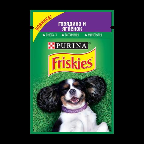 Friskies Консервы для собак с говядиной и ягненком в подливе (пауч)