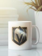 Кружка с рисунком НХЛ Вегас Голден Найтс (NHL Vegas Golden Knights) белая 004