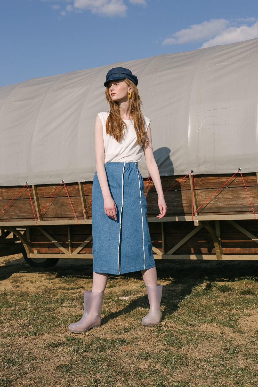 Юбка с кантиком из шелковой органзы, голубой джинс