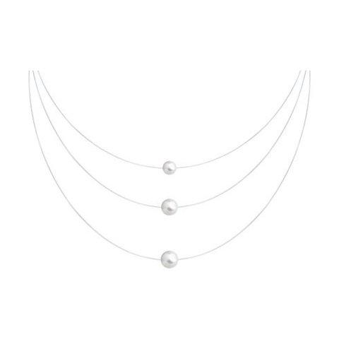 94070524 - Колье трехрядное на леске-невидимке с серебряными замочками с жемчугом