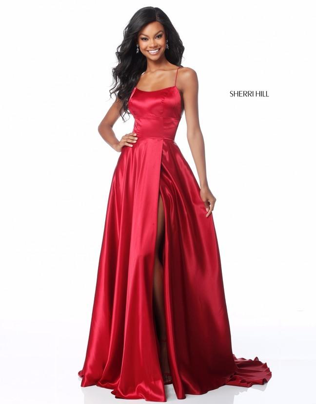 Алое, шелковое платье Sherri Hill 51631 длинное со шлейфом и разрезом на ноге