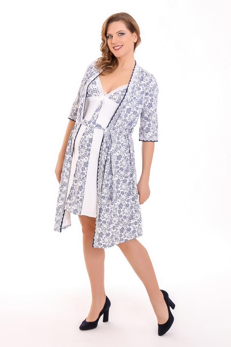 Комплект для беременных и кормящих с халатом и сорочкой 09207 молочный
