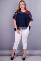Квітка Роза. Блуза з гіпюру size plus. Синій.