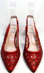 Красные босоножки на каблуке с закрытым носом G.U.E.R.O G067-TN Red.