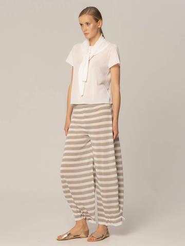 Женские брюки в серо-белую полоску из вискозы - фото 2