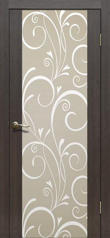 Дверь La Stella 303 фотопечать с двух сторон (Венецианский узор), фотопечать с двух сторон, цвет дуб мокко, остекленная