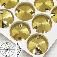 Cтразы пришивные Gold, Rivoli золотые, золотистые купить оптом