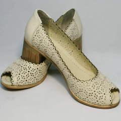 Туфли на широком каблуке женские Sturdy Shoes 87-43 24 Lighte Beige.