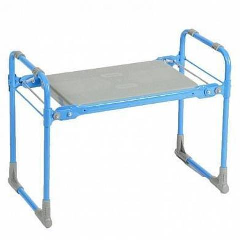 Складная садовая скамейка-перевертыш  с пластиковым сиденьем голубая