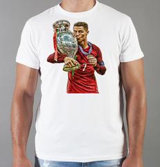 Футболка с принтом Криштиану Роналду (Cristiano Ronaldo) белая 007