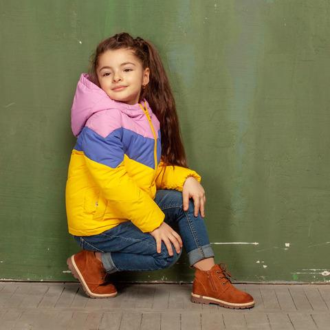 Підліткова демісезонна жовта куртка з водовідштовхувальної плащової тканини