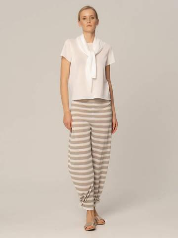 Женские брюки в серо-белую полоску из вискозы - фото 4