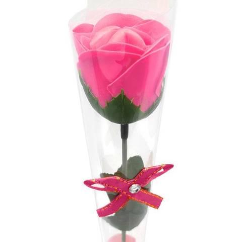 Декоративная мыльная роза и в подарочной плёнке с бантиком ярко-розовая