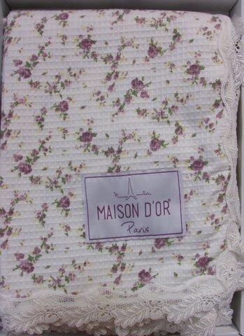 Покрывало вафельное с кружевом по краям ROSES - РОСЕС / Maison Dor(Турция)