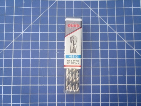 Сверло по металлу ц/x 4,0x75/43мм DIN338 h8 5xD HSS-G 118° Ruko 214040 (ВБ)