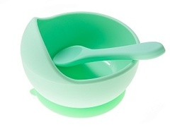 Силиконовая тарелка + ложка силикон