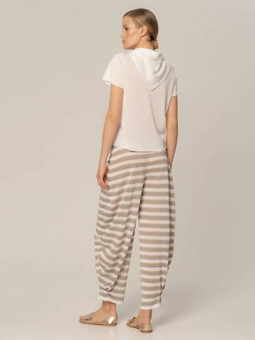Женские брюки в серо-белую полоску из вискозы - фото 3