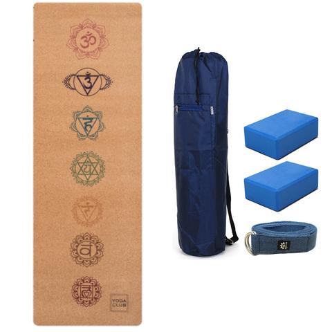 Набор для йоги Пробковый (коврик, чехол, ремень, 2 блока)