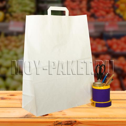 Крафт пакет белый с плоской ручкой 35x45x15 см