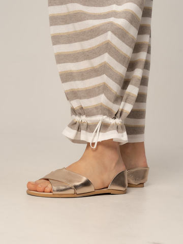 Женские брюки в серо-белую полоску из вискозы - фото 5