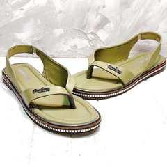 Летние босоножки сандали через палец женские Evromoda 454-411 Olive.
