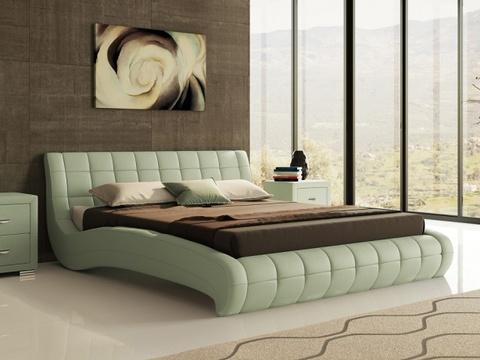 Кровать двуспальная Nuvola 1 (Нувола 1) Экокожа Олива