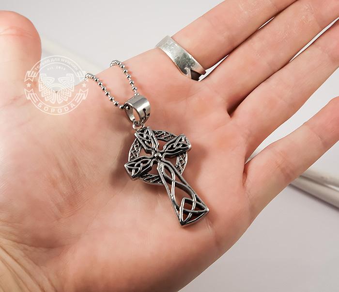 PM220 Мужская подвеска Кельтский Крест из стали фото 03