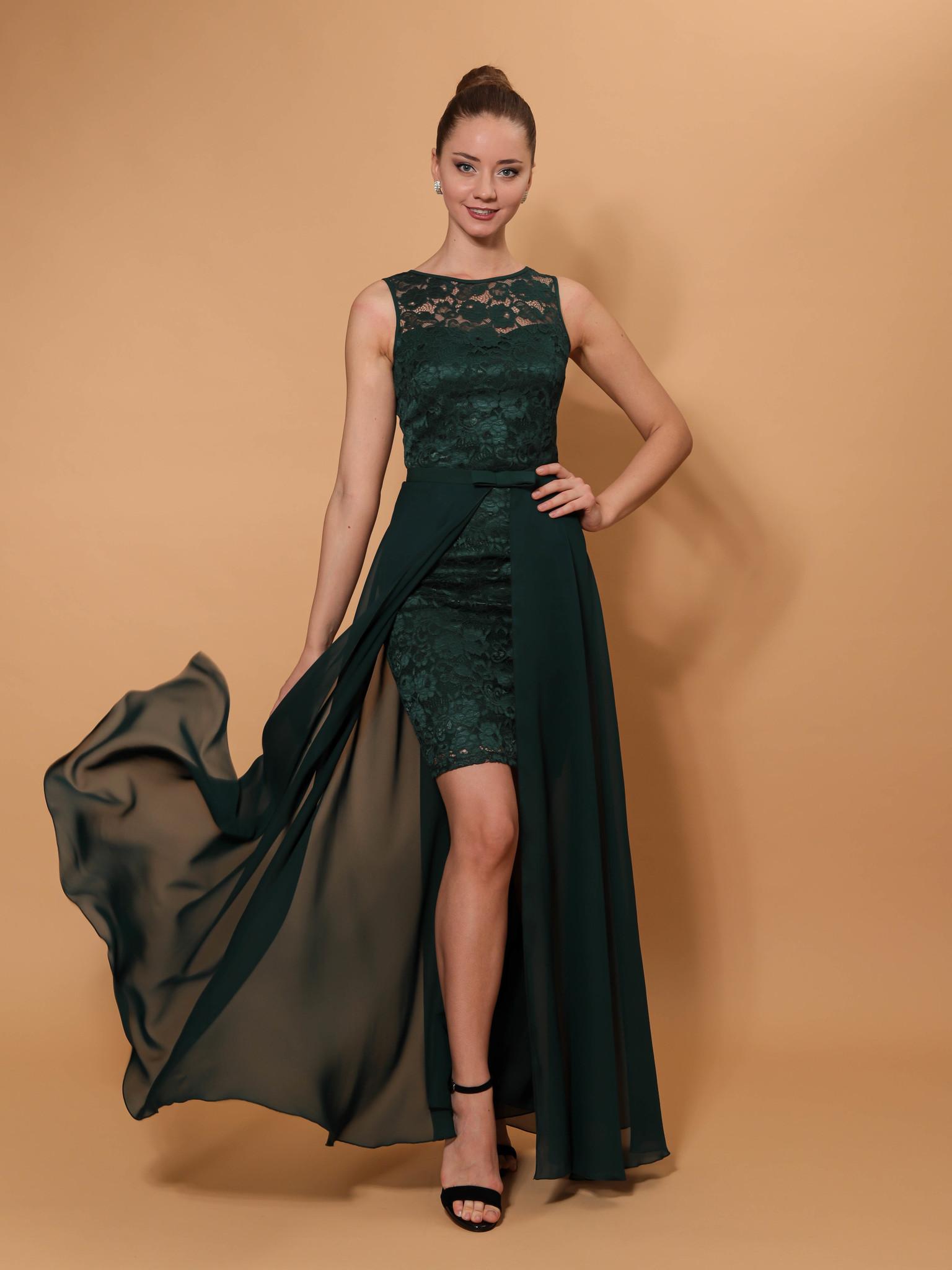 Нарядное платье со съемной юбкой из фатина (зеленый)