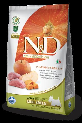 Сухой беззерновой корм Farmina N&D Grain Free Pumpkin Boar&Apple Adult Dog Mini