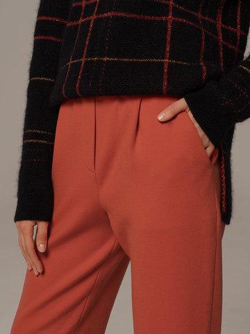Женские брюки терракотового цвета из шерсти - фото 5