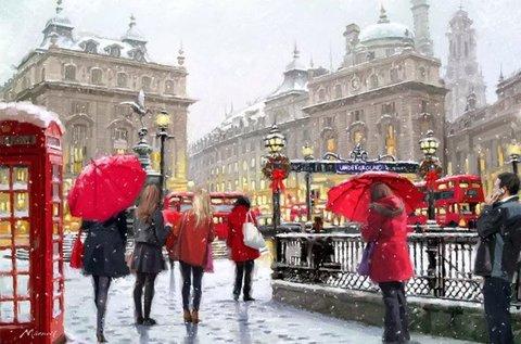 Алмазная Мозаика 30x40 Зимний город с красными акцентами