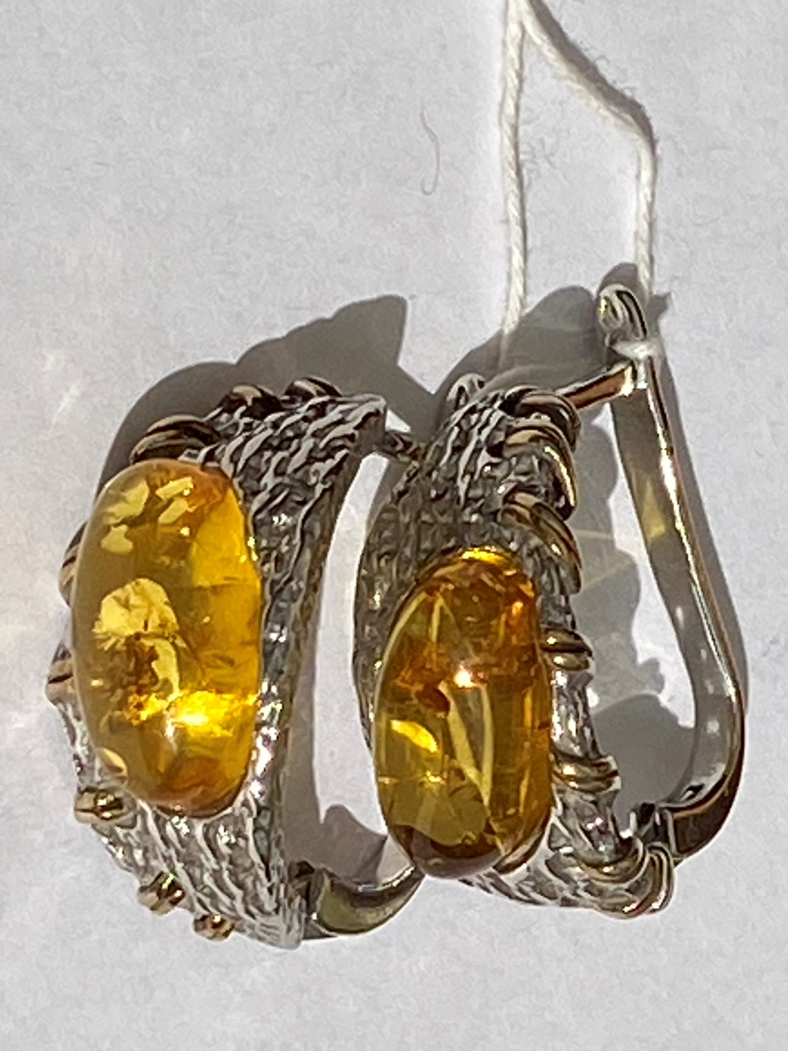 Рапсон -янтарь( серьги из серебра)