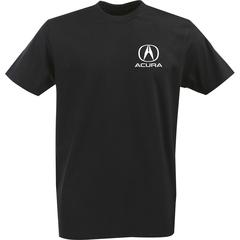 Футболка с однотонным принтом Акура (Acura) черная 006