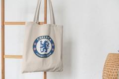 Сумка-шоппер с принтом FC Chelsea (ФК Челси) бежевая 002