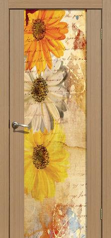 Дверь La Stella 303 фотопечать с одной стороны (Герберы), фотопечать с двух сторон, цвет тиковое дерево, остекленная