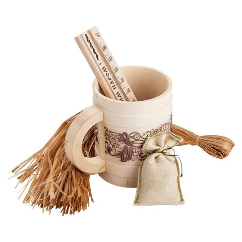 Подарочный Банный набор (мочало лыковое, кружка, запарка в мешочке, термометр)