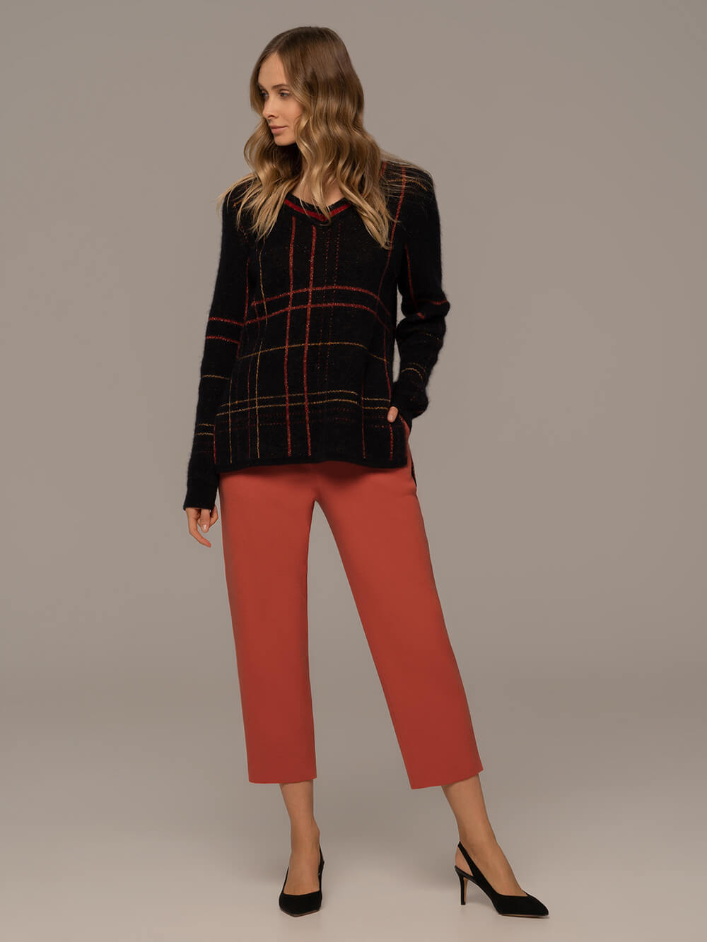 Женские брюки терракотового цвета из шерсти - фото 1