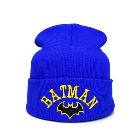 Вязаная шапка с вышивкой Бэтмен (Batman) голубая