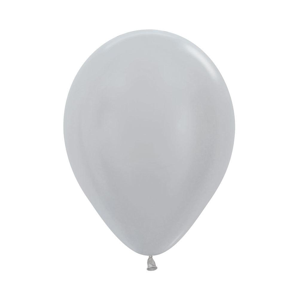 Латексный воздушный шар, цвет серебро металлик
