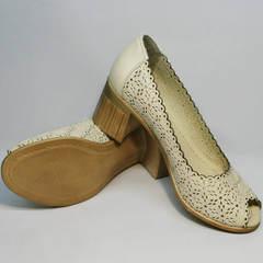 Туфли на устойчивом каблуке женские летние Sturdy Shoes 87-43 24 Lighte Beige.
