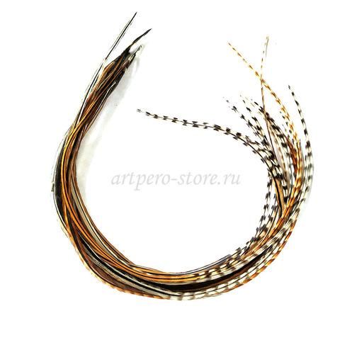 Перья петуха в волосы 20-25 см. 6 шт. (натуральный)