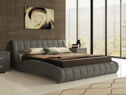 Кровать двуспальная Nuvola 1 (Нувола 1) Экокожа серая